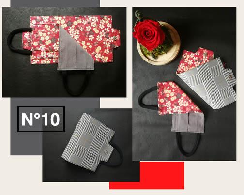 10-Porte masque Carreau et Fleur rouge