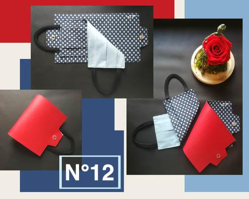 12-Porte-masque Rouge & motif cravate