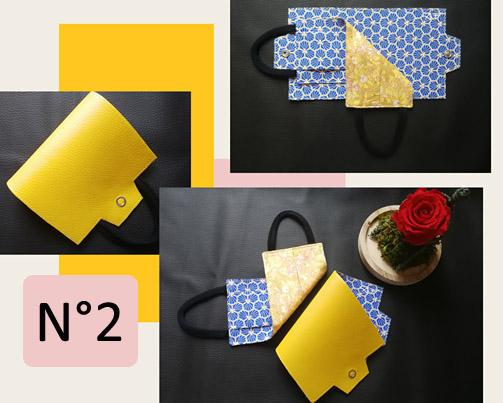 2-Porte-masque en jaune et bleu losange