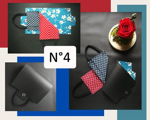 4-Porte-masque en Noir et pois rouge